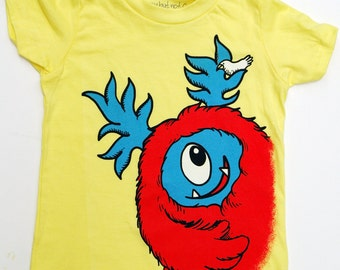 Kid's Monster T-Shirt - Yellow with Red Monster size 8