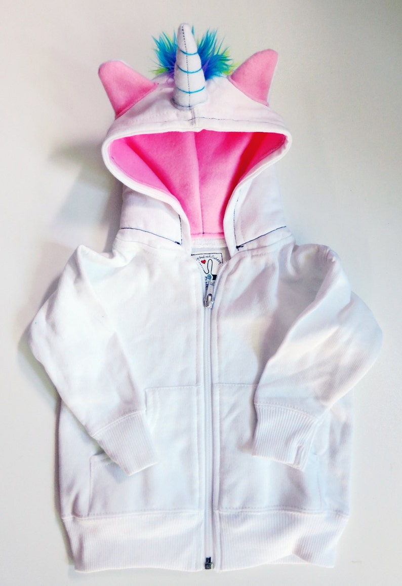 Baby Unicorn Hoodie  Size 18 month  White with pink  horned image 0