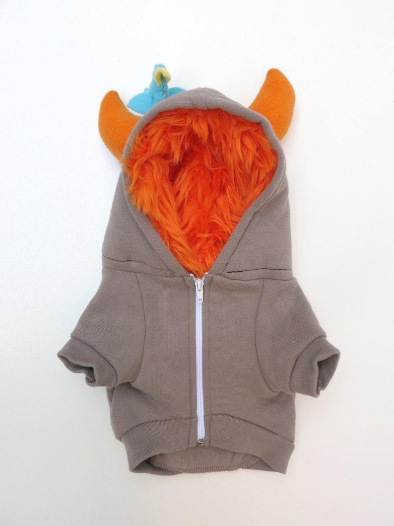 Dog  Monster Hoodie  Gray with orange  Size XXLarge  Pet  image 0