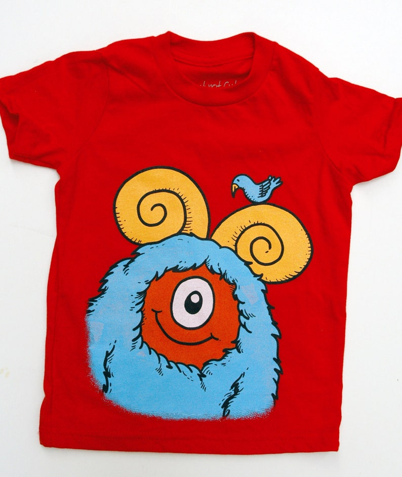 Kid's Monster T-Shirt  Red with Aqua Monster size 6T image 0