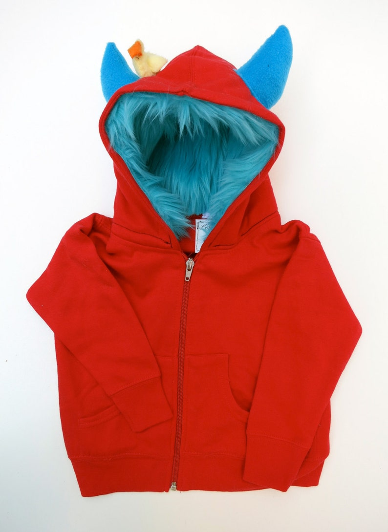 Youth Monster Hoodie  Red with Aqua  Youth Medium 10-12  image 0