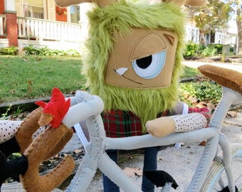 Enjoy the ride. - Handmade soft sculpture, plush monster doll with bicycle
