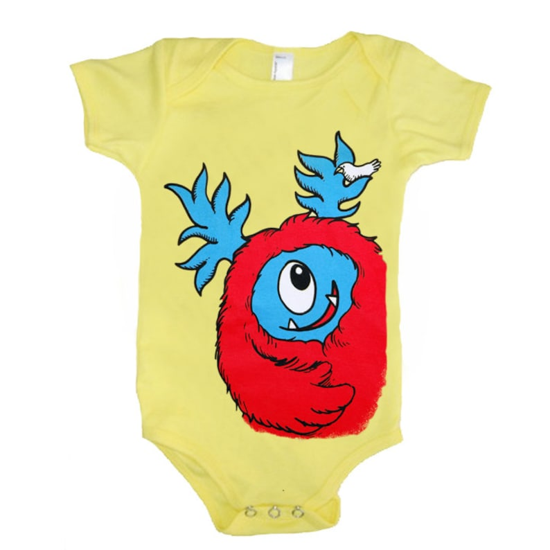 3eb9ac93c82a Baby Monster Onesie Yellow with Red Monster size 18 month