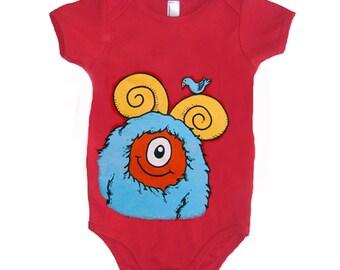 Baby Monster Onesie - Red with Aqua Monster size Newborn