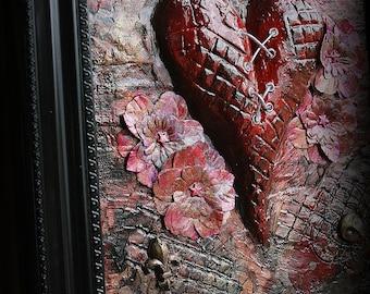 My Mending Heart - Mixed Media 3D Framed Canvas