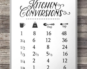 graphic relating to Printable Cooking Conversion Chart named Kitchen area conversions conversion chart Printable kitchen area Etsy