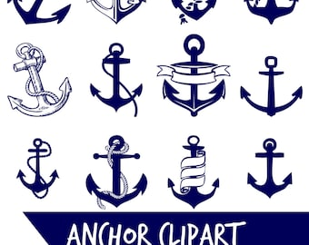 ANCHOR Clip Art Navy Blue Anchor Digital Nautical Coastal Instant Download Anchors PNG