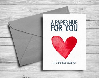 5x7 Printable card | Send a hug | Watercolor heart | Social distancing greeting card