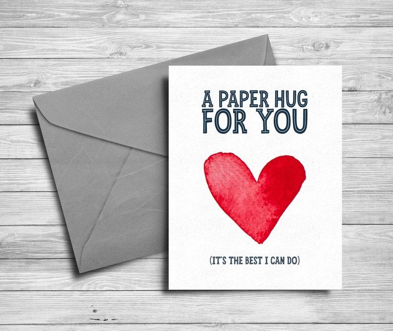 5x7 Printable card  Send a hug  Watercolor heart  Social image 0