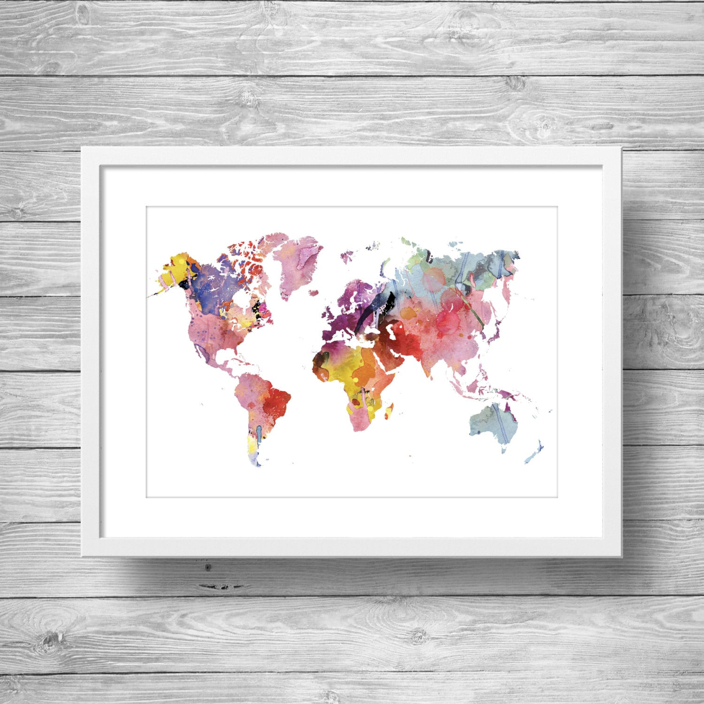 World Map Printable Free.Rainbow Watercolor World Map Print Printable Wall Art Etsy