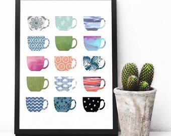 Coffee art, Multi color coffee cups, art print, Coffee kitchen art print, Kitchen decor print,  Espresso Coffee Printable kitchen wall art