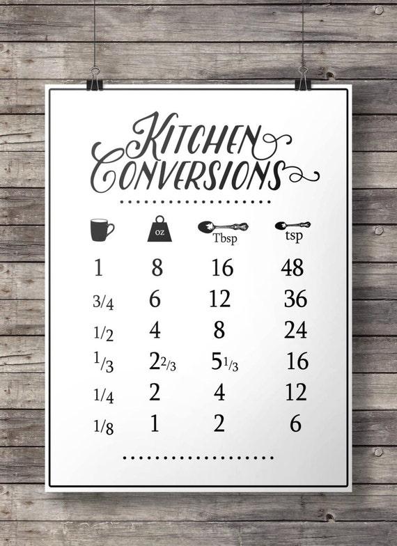 Kitchen Conversions Conversion Chart Printable Kitchen Etsy
