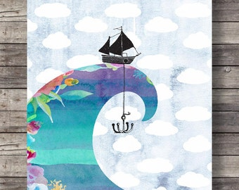 Wave and boat  The sea is so big and my boat is so small Watercolor digital collage art print | Printable wall art | Instant download