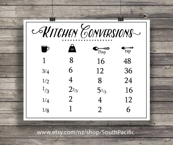 Kitchen Conversions Conversion Chart Printable Kitchen Etsy