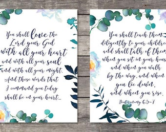 Deuteronomy 6v5-7 Bible verse Printable art, Love the Lord your God with all your heart Set of two Scripture watercolor Bible journaling