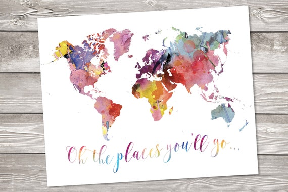 World map printable art wanderlust floral watercolor world map etsy image 0 gumiabroncs Images