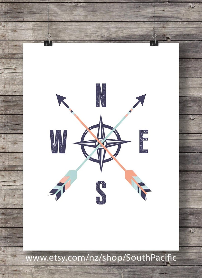 Arrow compass north south east west compass wall art geography travel art print printable wall art wanderlust art print nursery decor print