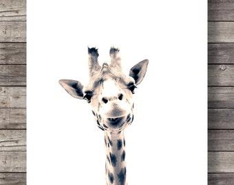 Giraffe art print Cute giraffe face Sepia Giraffe photo nursery decor Printable wall art Safari decor Jungle animals decor African animals