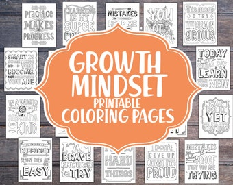 20 Growth mindset coloring pages,  PRINTABLE mindset resources, teacher printables, mindset coloring