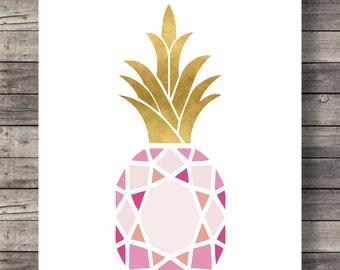 Pineapple print, Printable art, Pink gold tropical, pineapple wall art, Pineapple Print, pink wall Art  Modern Home Decor, luxe wall art