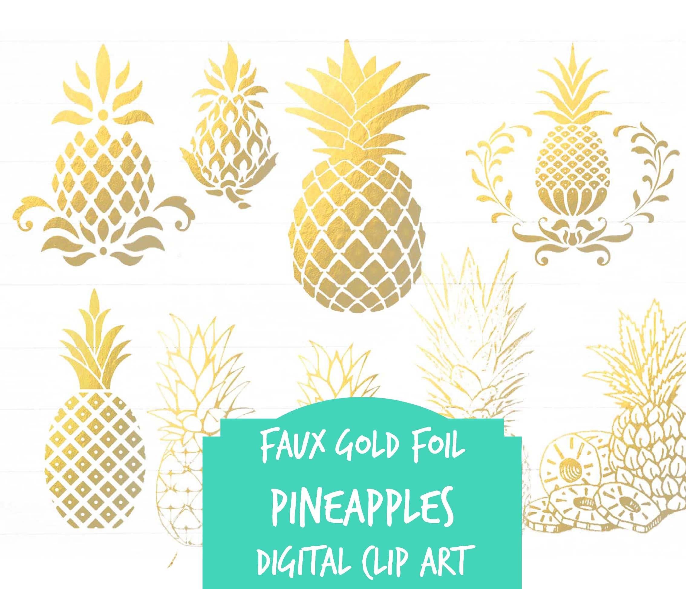 Pineapple clip art Digital clip art Gold foil watercolor ...