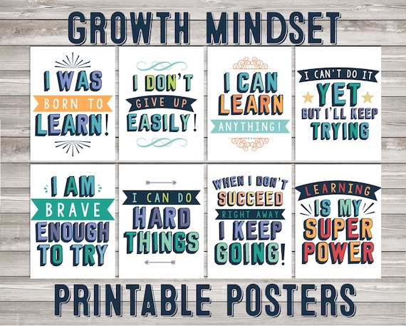 Growth mindset, classroom printable posters, classroom poster growth  mindset quote wall art art print inspiring quote