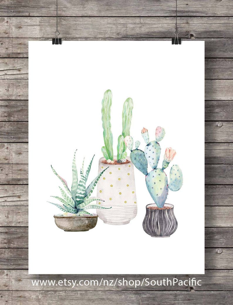 Cacti art print printable art watercolor cactus painting watercolor botanical decor printable wall art watercolor cacti art house plant