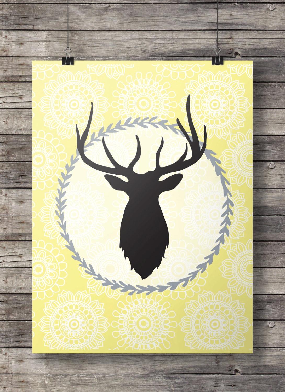 Yellow deer head Printable wall art deer stag antlers | Etsy