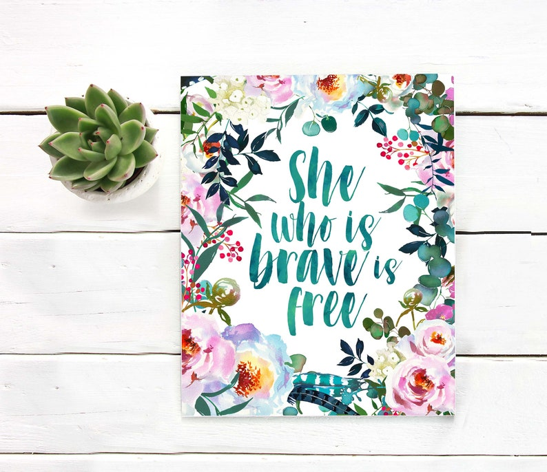 photograph regarding Free Printable Wall Art Flowers known as She who is courageous is totally free Printable artwork Watercolor bouquets Peonies eucalyptus Hand lettered Printable wall artwork Motivational Quotation Print