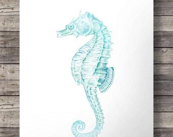 Seahorse, printable, Aqua turquoise,Nautical wall art, coastal art, Printable, wall art,  seahorse print, seahorse art print, beach decor