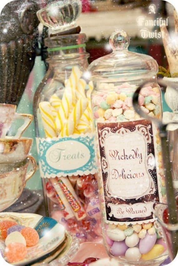 12 Wonderland Inspired Candy Jar Stickers Etsy