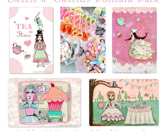 Sweets n' Sweeties - Assorted 5 Postcard set