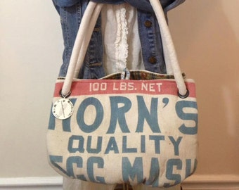 Vintage HORN'S Quality Egg Mash feed sack purse - Big Carpetbag