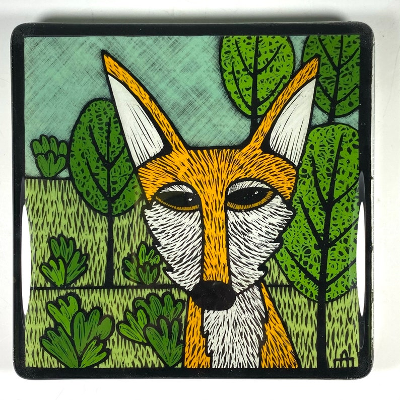 Foxy Fox and Trees Sly Fox Fused Glass Art Tile Fox Lover Nature Lover Whimsical Art