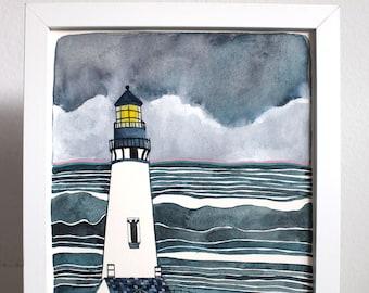 Yaquina Head Lighthouse, Oregon Coast Art, Lighthouse Painting - Newport Oregon Art - Ocean Art - Coastal Painting - Oregon Painting