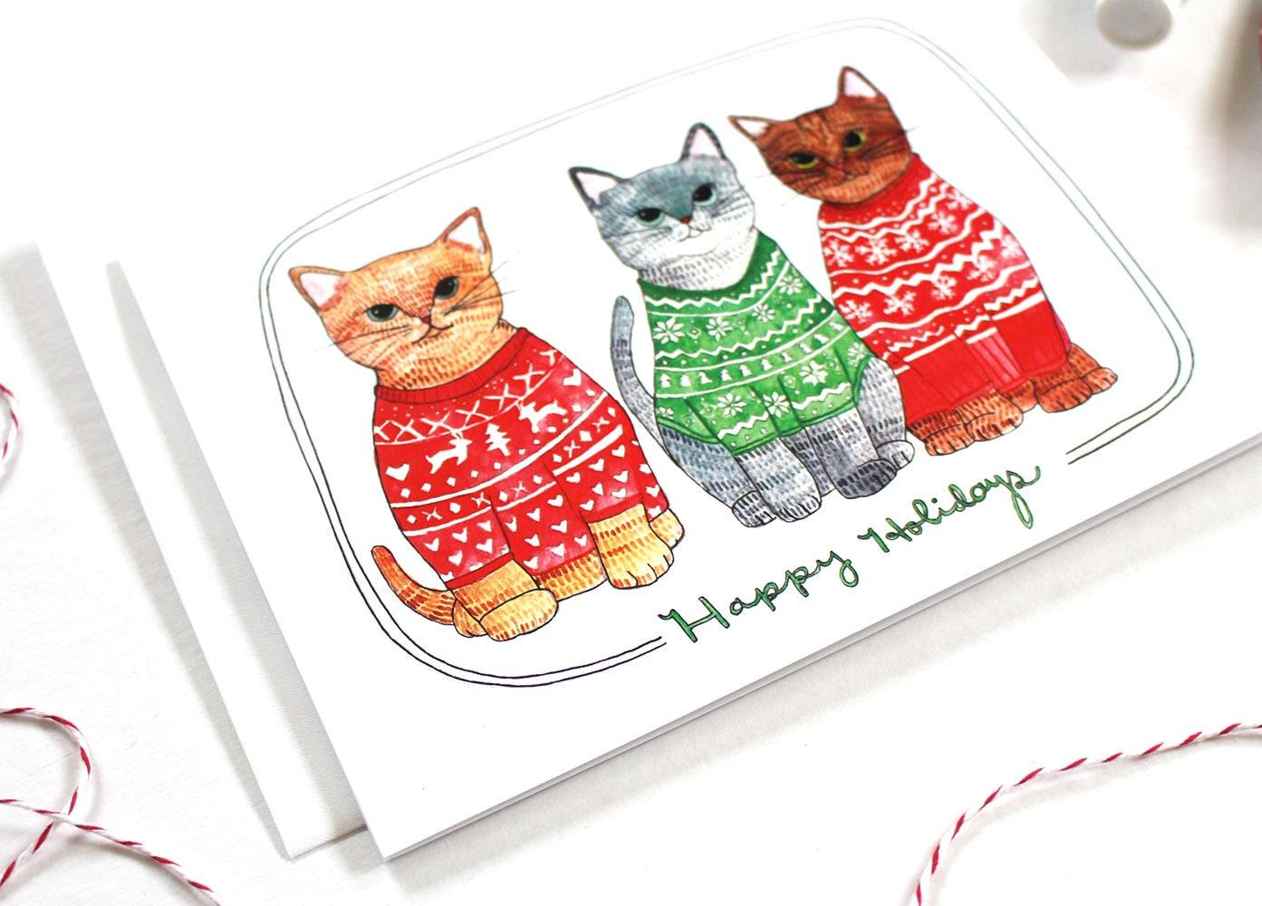 Christmas Sweater Christmas Card Cat Christmas Card Cat | Etsy