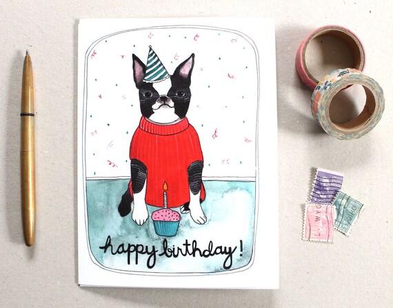 Birthday Card Boston Terrier Birthday Card Dog Card Etsy