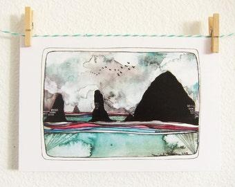 Postcards - Cannon Beach Postcards - Postcards of Cannon Beach - Haystack Rock - Oregon Coast Postcards - Set of 3 Haystack Rock Postcards