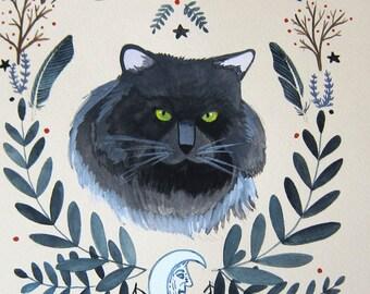 Art - Original Painting - Cat Painting - Witch Cat - Feline Familiar Art - Original Art - Cat Art - Cat Painting - Halloween - Celestia