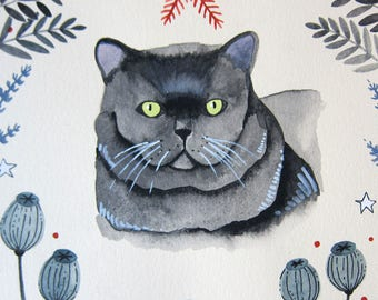 Art - Original Painting - Cat Painting - Witch Cat - Feline Familiar - Cat Art - Original Art - Black Cat Art - Witch Art - Minerva