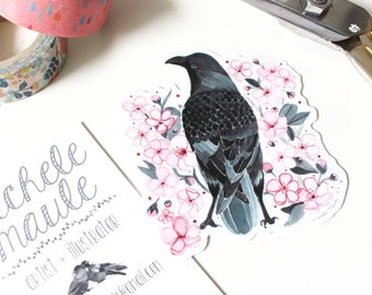 Crow Stickers - Vinyl Crow Stickers - Cherry Blossom Stickers - Spring Inspired Stickers - Illustrated Stickers - Crow and Blossoms