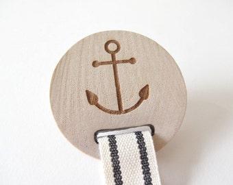 soother clip, pacifier clip, anchor, nautical baby