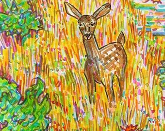Greeting Card, Deer, Meadow River Nature scene, Animal Spirit Medicine, Poetic Art, made in California, Earth Lover, Eco friendly printing