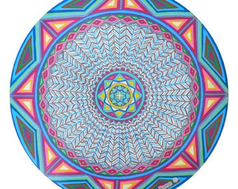Cosmic Circle, Blue Tribal, Window cling, Earth based Spirituality, Medicine wheel, Native American, Pagan, Feather Mandala, Light catcher