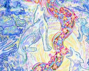 Greeting Card, Sing Together, Coyote Family, Eco friendly Affordable Art, Full Moon, Blue Light, Starry Night, Animal Spirit Guides, Forest