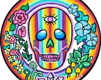 Cosmic Circle, Rainbow Skull, Sun Light catcher window cling, Eco-friendly Art, Third Eye, Plants, Mushrooms, Herbs, Crystals, Rose, Flowers