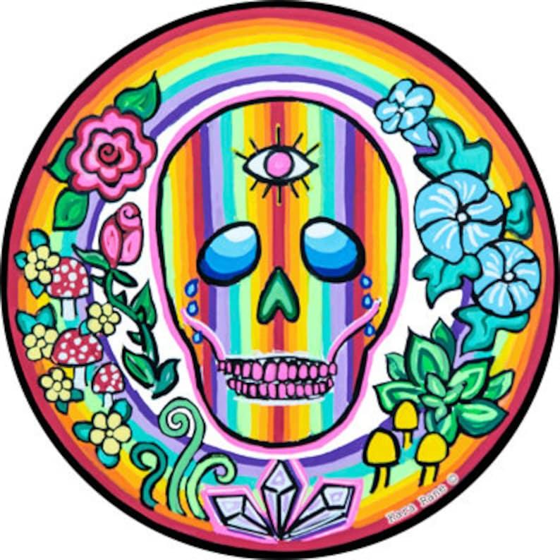 Cosmic Circle Rainbow Skull EcoFriendly No Adhesive Sticker image 0