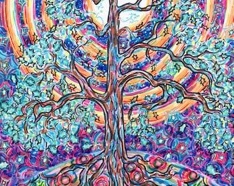 Greeting Card, Oak Tree, Rainbow Moonbow, Eco-friendly Art, Full Moon Night, Mystical Experience, Psychedelic Vibes, Modern Landscape Art