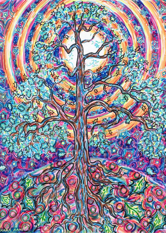 Greeting Card Oak Tree Medicine Moonbow Rainbow Tree image 0