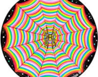 Cosmic Circle, Rainbow Spider Web, Sun Light catcher window cling, Home / Car / Bottle glass decor, Spirit Weaver, Psychedelic Visionary Art